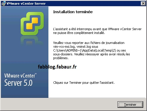 Vcenter Install error 1603