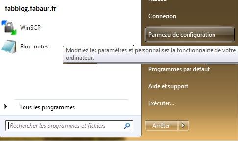 Panneau de configuration Windows
