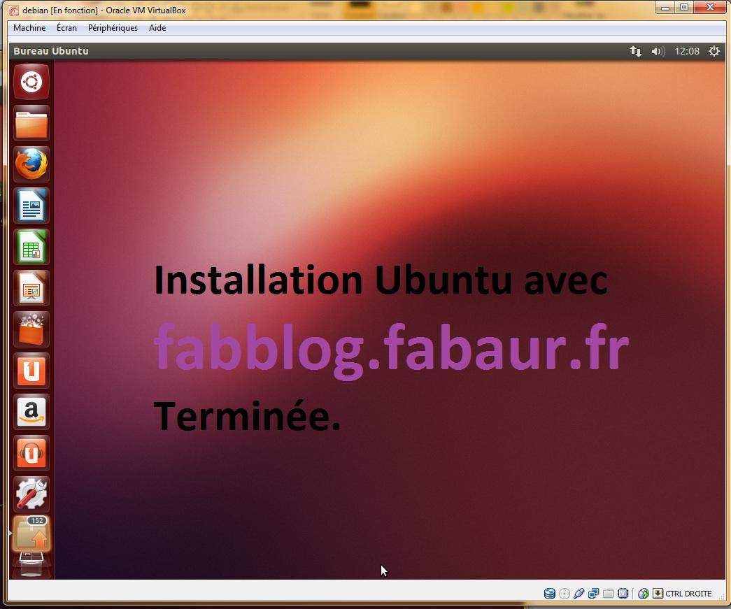 Installation Ubuntu terminée