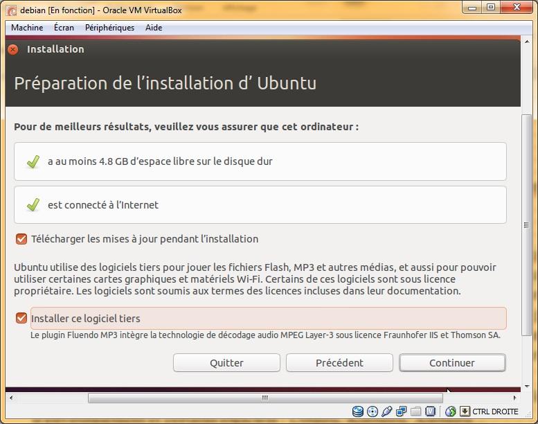 Préparation de l'installation d'ubuntu